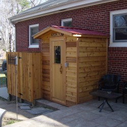 Outdoor Saunas - Modular outdoor sauna with cedar siding and matching shower/changing area in Richmond, VA