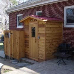 Outdoor Saunas - Modular outdoor sauna with cedar siding and matching shower/changing area in Richmond, VA
