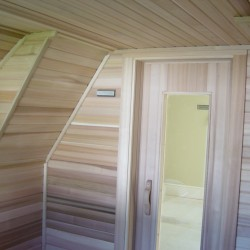 Home Sauna Kits - Custom home sauna built to accommodate sloping roof lines