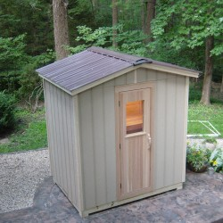 Outdoor saunas - Modular outdoor sauna installed on poolside patio