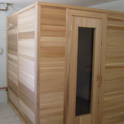 Portable sauna in home basement