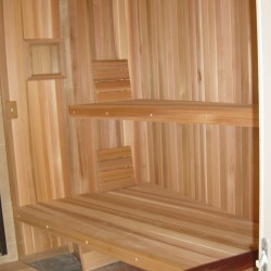 Home Sauna Kits - Custom home sauna in Goochland, VA with extra wide lower bench