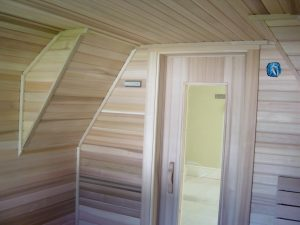 fixture home sauna kit with sloping ceiling