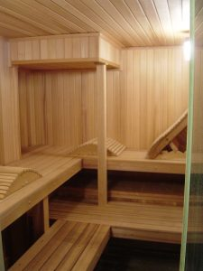Fixture home sauna kit with bulkhead contour