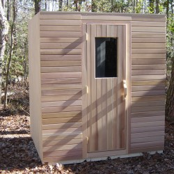 Portable saunas - a modular unit pre-assembled outside of our Chesterfield, VA workshop