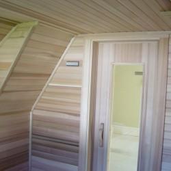 Home Sauna Kits - Custom home sauna built to accommodate sloping roof lines