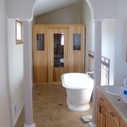 Portable Saunas - A modular unit build to fit snugly into a bathroom nook in Detroit, MI
