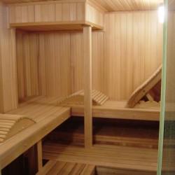 Home Sauna Kits - Custom home sauna with reclining backrest in Raleigh, NC