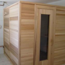 Portable sauna in home basement