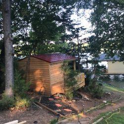 Rear view of Lakeside Outdoor Sauna - Smith Mountain Lake, Virginia